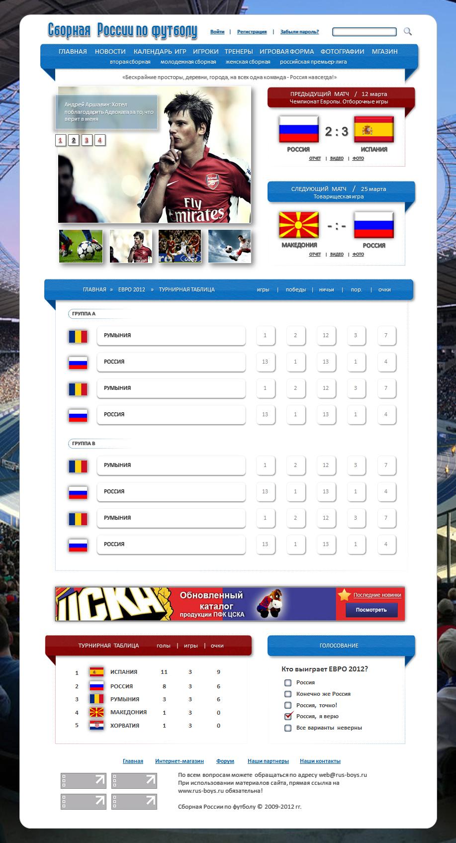 таблица евро 2012 по россии