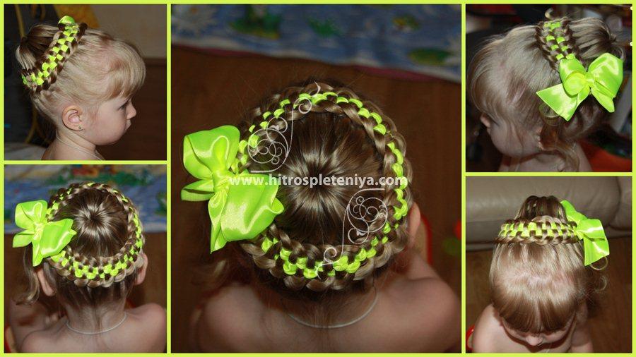 Причёски девочкам на длинные волосы с лентой