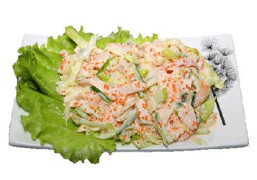 Салат с крабовыми палочками и куриным мясом