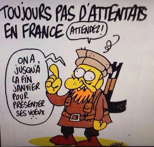 """Die letzte zeichnung von Charb, erschienen in """"Charlie Hebdo"""" am mittwoch, den 7. januar."""