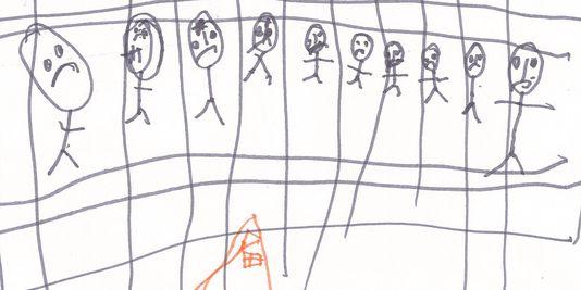 die Zeichnung eines kindes häftling in das zentrum der aufnahme von migranten, die von Christmas Island.