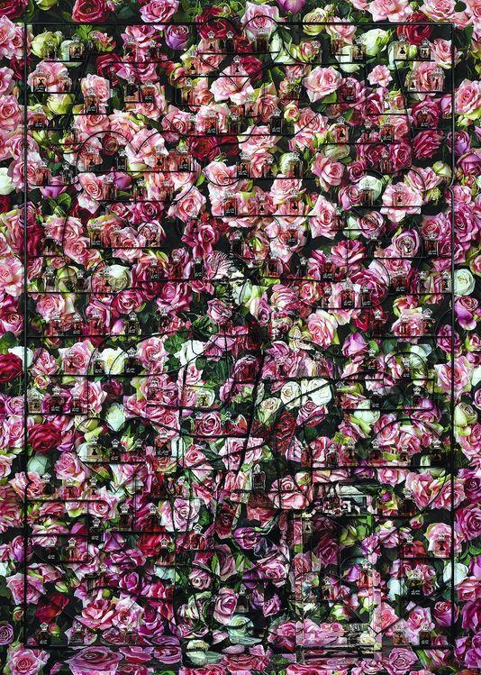 fotograf Liu Bolin lehnt die bulgarische rose, die in dieser zusammensetzung. Eine hommage an die liebe mit seiner frau, verborgen, wie er auf dem foto...