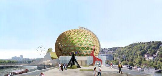 virtuelles Bild von der rückseite des projekts der Stadt mit musik auf der insel Seguin, Hauts-de-Seine.