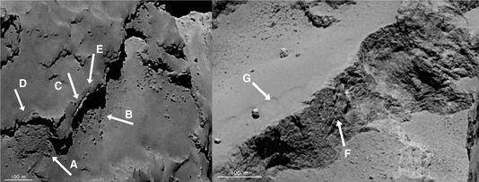 Beispiele für landschaften chamboulés der komet erfasst von Rosetta.