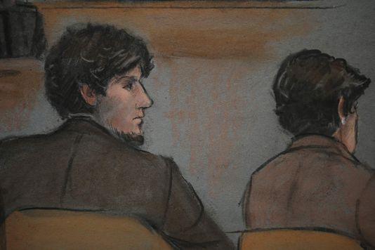 bild von Djokhar Tsarnaev am zweiten tag im prozess um die anschläge von Boston.