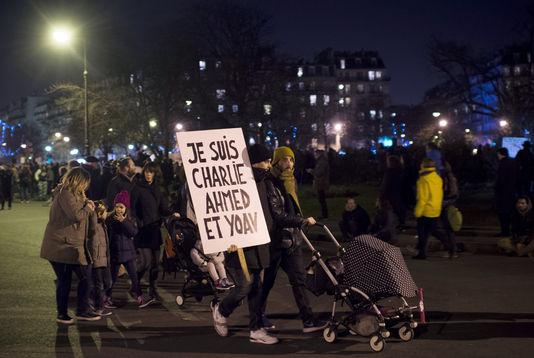 """Beim """"marsch für die republikaner"""" vom 11 januar, in Paris."""